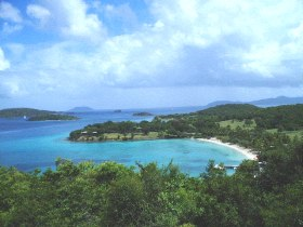 caneel bay from coast road above