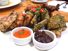 saltfish fritters and callaloo fritters plate by avlxyz